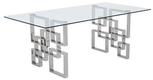 Overstock Best Quality Furniture Rectangular Glass-Top Dining Table with Stainless Steel Legs