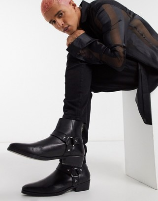 Asos Design DESIGN cuban heel western chelsea boots in black leather with buckle detail