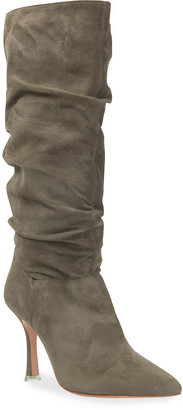 Black Suede Studio Grecia Slouchy Leather Boots