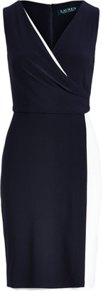 Ralph Lauren Two-Tone Surplice Dress