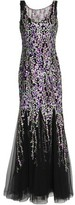 Badgley Mischka Fluted Floral-Embroidered Tulle Gown