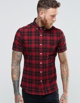 Asos Skinny Shirt With Mid Scale Check and Short Sleeves In Red