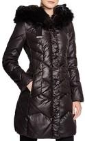 T Tahari Mia Quilted Faux Fur Trim Coat
