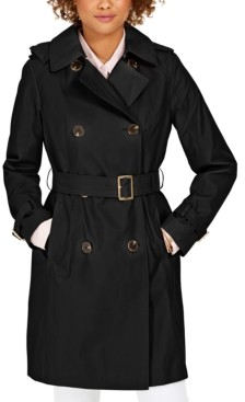 Michael Kors Michael Belted Double-Breasted Water-Resistant Hooded Trench Coat