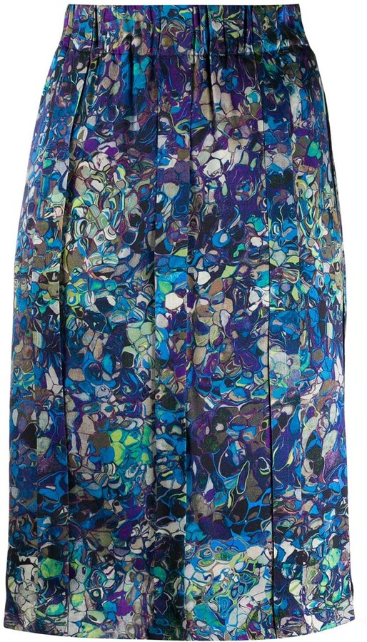 Dries Van Noten Pre-Owned Silk 1990s Abstract Print Straight Skirt