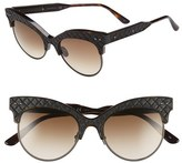 Bottega Veneta Women's 52Mm Cat Eye Sunglasses - Blue/ Blue/ Smoke
