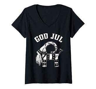 Nordic Womens Swedish Straw Christmas Goat God Jul Julbock V-Neck T-Shirt