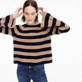 J.Crew Ruffle-sleeve crewneck in striped everyday cashmere