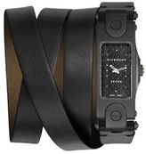 Givenchy Seven Blackened Stainless Steel & Leather Wrap Strap Watch