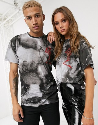 Religion unisex t shirt in mist print-Multi