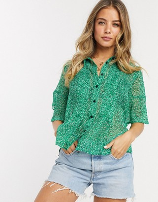 French Connection floral pintuck shirt