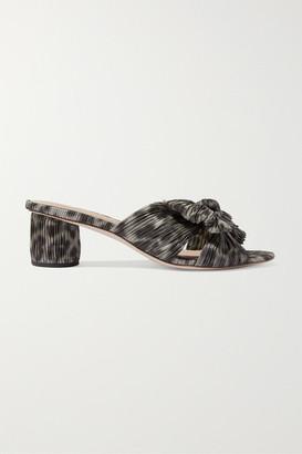 Loeffler Randall Emilia Bow-detailed Leopard-print Plisse-lame Mules - Leopard print