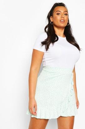 boohoo Plus Dalmatian Print Ruffle Skater Skirt