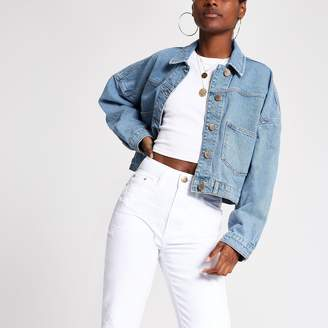 River Island Womens Light Blue denim cropped jacket