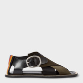 Paul Smith Women's Black Leather Sandals With Black And Khaki Webbing