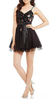 Teeze Me Embroidered Mesh Party Dress