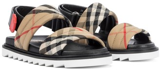 BURBERRY KIDS Vintage Check cotton and leather sandals