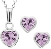 Girl's Mignonette Sterling Silver & Cubic Zirconia Birthstone Necklace & Earrings Set