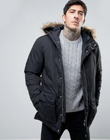 Farah Hooded Parka Detachable Faux Fur Trim in Black