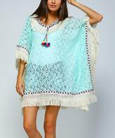 Simply Boho La Simply Boho LA Women's Ponchos TURQUOISE - Turquoise Sheer Lace & White Fringe Poncho - Women