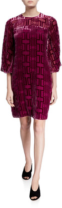 Trina Turk Burnout Velvet Shift Dress with Illusion Neckline