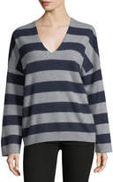 Vince Cashmere Striped V-Neck Sweater