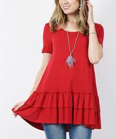 Lydiane Women's Tunics DKRED - Dark Red Crewneck Short-Sleeve Ruffle-Hem Tunic - Women