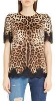 Dolce & Gabbana Lace Trim Leopard Print Satin Top