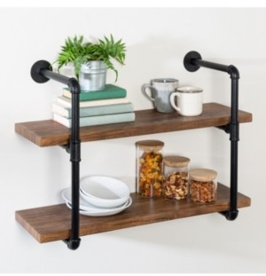 Honey-Can-Do 2-Tier Black Industrial Wall Shelf