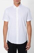 7 Diamonds Men's 'Feel Free' Trim Fit Short Sleeve Stripe Stretch Woven Shirt