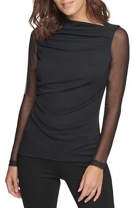 Donna Karan Mesh Detail Long-Sleeve Blouse