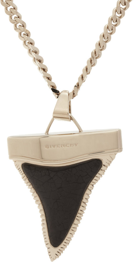 Givenchy Cracked Shell Medium Shark Tooth Pendant Necklace