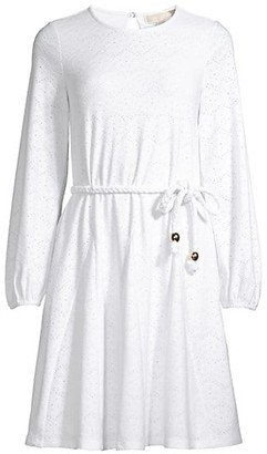 MICHAEL Michael Kors Braided Belt Eyelet Dress