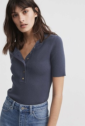 Witchery Button Front Short Sleeve Knit