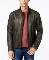 HUGO BOSS Green Men's Jofynn Full-Zip Leather Jacket