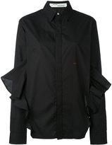 Off-White embroidered ruffle shirt - women - Cotton - M