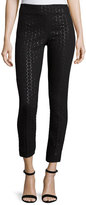 Lela Rose Catherine Metallic Polka-Dot Skinny Ankle Pants, Black