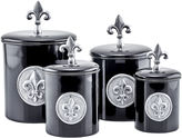 Old Dutch 4 Piece Black Fleur De Lis Canister Setwith Fresh Seal Lids