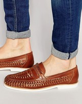 Dune Woven Loafers In Brown Leather