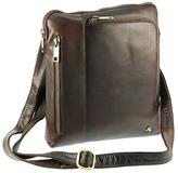 Visconti Brown Three-Pocket Leather Crossbody Bag