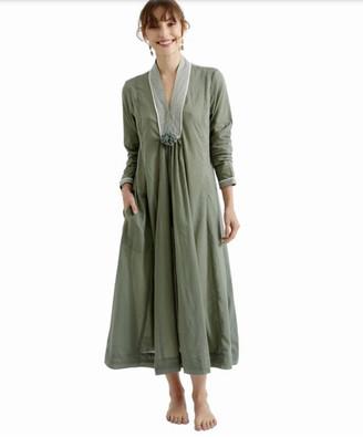 Zen Ethic - Top Stitched Pom Pom Cotton Dress Country Green - small | cotton | soft green - Soft green