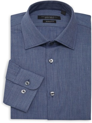 John Varvatos Regular-Fit Textured Dress Shirt