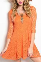 Entro Orange Crocheted Dress