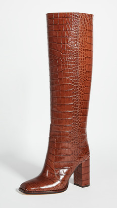 Paris Texas Moc Croco Square Toe Tall Boots