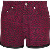Saint Laurent Leopard-Print Nubuck Shorts
