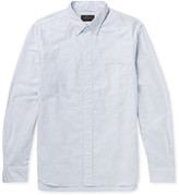 Beams Button-down Collar Striped Cotton Shirt - Blue