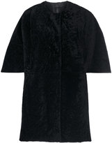 Drome single breasted coat - women - Lamb Skin/Viscose/Lamb Fur/PBT Elite - S