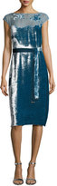 Bottega Veneta Devore Cap-Sleeve Belted Velvet Dress, Blue