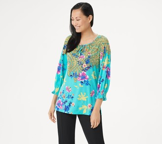Susan Graver Printed Liquid Knit Tunic with Tie Detail