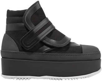 Marni Leather-trimmed Twill Platform Sneakers
